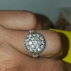 14k White Gold Dome Starburst Diamond RING 7